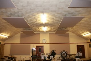 acoustic panels tiles in a band practise room on walls and ceiling hung