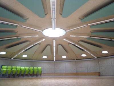 Surrey Square School bespoke suspended acoustic clouds with curves