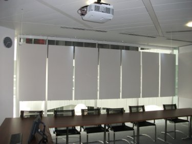 suspended prosonic fg panels infront of windows