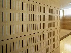 slotted or perforated acoustic timber panel systems