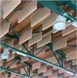 Acoustic baffles suspended acoustic absorbers